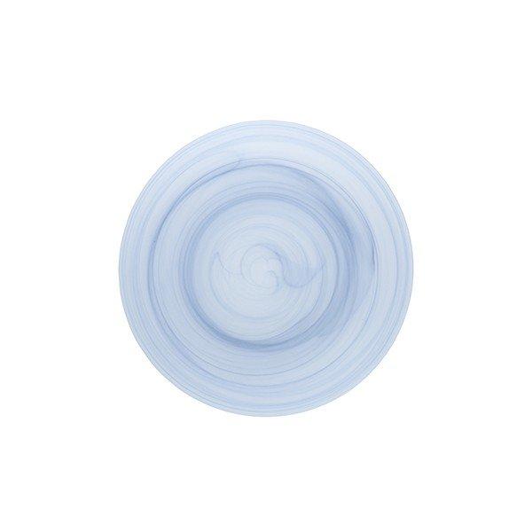 тарелка из голубого стекла кругла с геометрическим рисунком по всей поверхности