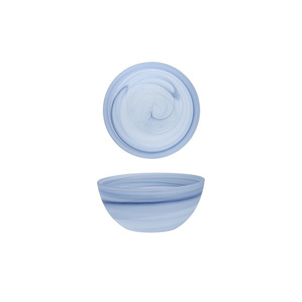 салатник из стекла голубого цвета круглый