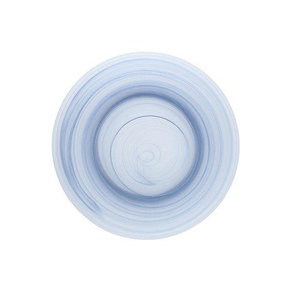 тарелка голубого цвета из прочного матового стекла с разными оттенками синего