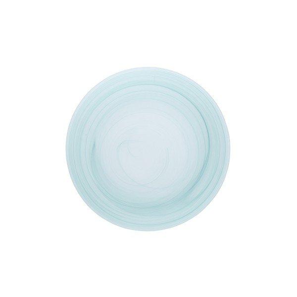 тарелка 26.8 см круглая из зеленого стекла без борта с рисунком из линий