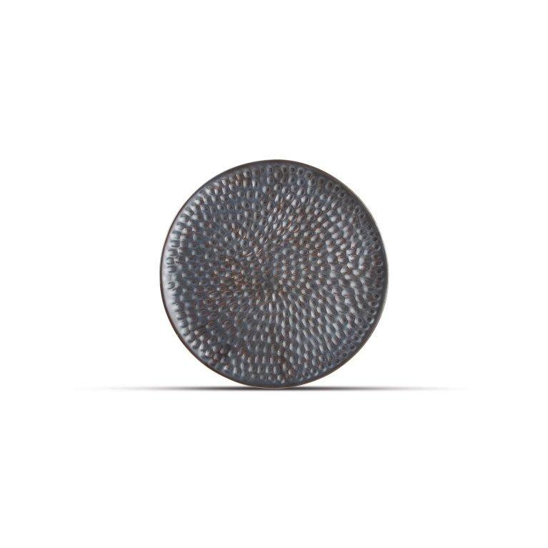 тарелка круглая серебристого цвета с эффектом ковки