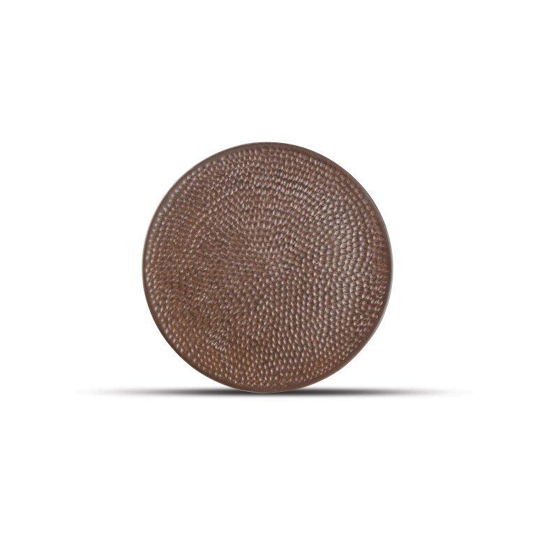 круглая коричневая тарелка с эффектом ковки