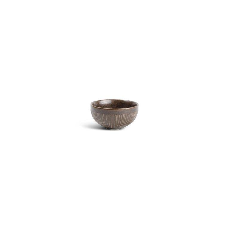 салатник маленький коричневого цвета с оттенком меди с тонкими вертикальными полосами по борту