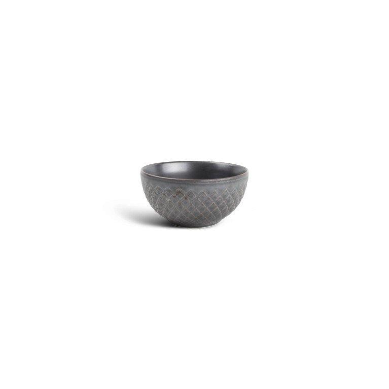 салатник серого цвета с гранями по борту овальной формы