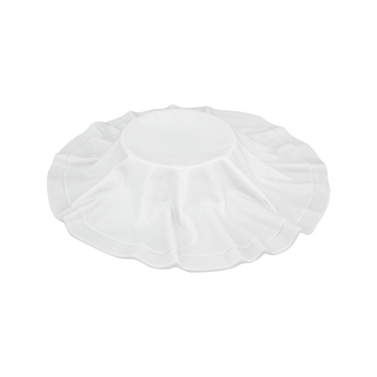 тарелка мелкая Tecido дизайнерская посуда Vista Alegre с высоким основанием и обрамлением из фарфора в виде скатерти