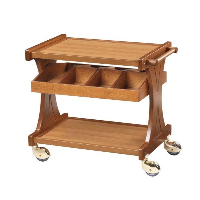 столик сервировочный из светлого дерева на колесах с дополнительным ящиком на 4 ячейки, нижняя и верхняя полка с ограничителем по бокам, удобная ручка