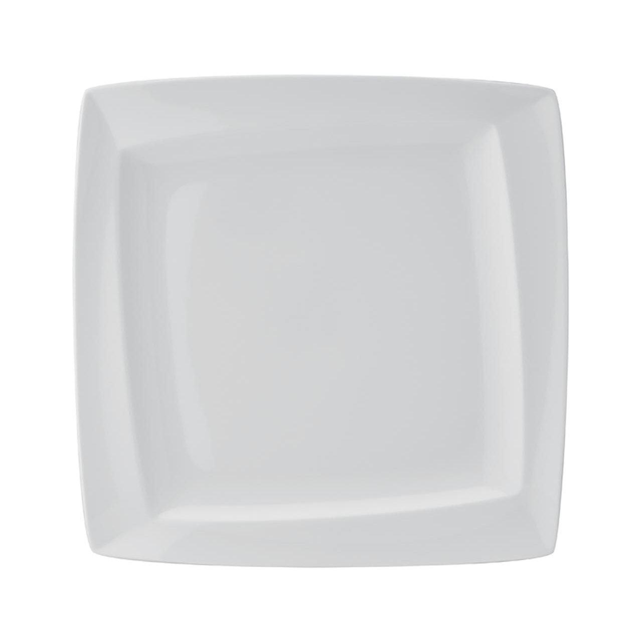 тарелка квадратная белая с бортом