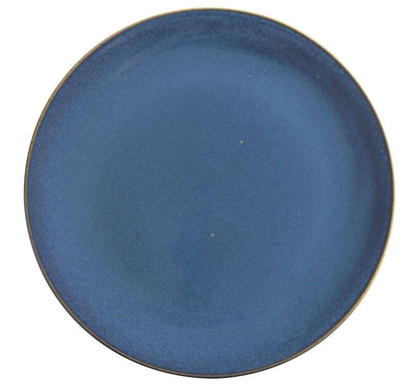 тарелка мелкая 26.5 см синего цвета с ободком коричневого цвета
