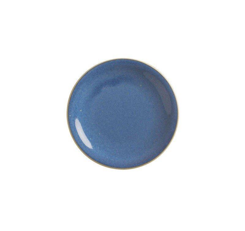 тарелка мелкая синего цвета 16 см с коричневой отводкой