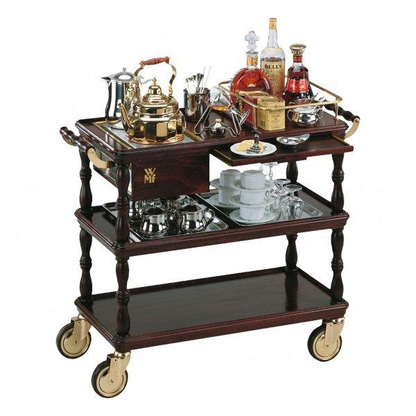тележка для чая и кофе, трехъярусная, коричневого цвета, на колесах и ручкой сервировка посуда WMF